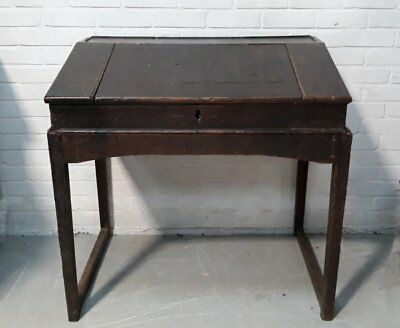 Antique Dark Oak Victorian Clerk's Slope Writing Desk With Stand