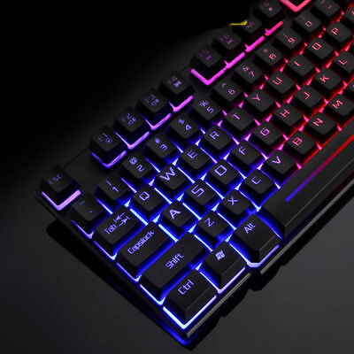 f93ad9677c4 KUIYN T6 Rainbow Backlight Usb Ergonomic Gaming Keyboard and Mouse Set for  PC La
