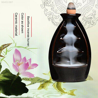 Ceramic Backflow Waterfall Smoke Monk Incense Burner Censer Holder Home Decor