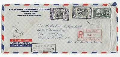 L2418 Costa Rica SAN JOSE AIR MAIL REGISTERED COVER TO USA EXPRES DELIVERY 1956