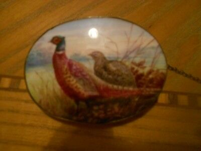 Early 20th century hand painted porcelain brooch signed A.H WRIGHT Minton ?