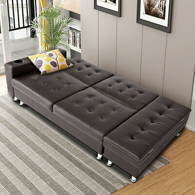 Faux Leather Ottoman Sleeping Sofa Bed Settee with Cup Holder Storage Recliner