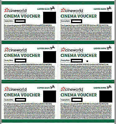 6 x Cineworld Cinema Tickets Approx £60 value - expire 29.03.2020 Lloyds Account