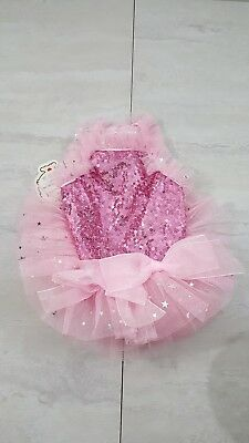 Cute Cat PET Dress Clothes Pink Sequin TuTu Size Small