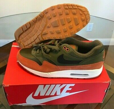 328efabcb7 Nike Men's Air Max 1 Olive Canvas Green Black Dark Russet Orange Gum AH8145- 301