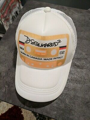 9705f88ef DSQUARED ICON DEAN Caten DSQ Dsquared2 Baseball hat Dsq2 Gold Cap WHITE