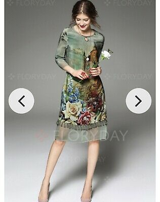 229825ac37 BNWT! Floryday Green Tassel Floral Party Summer Tunic Shift Dress Midi.  Large!