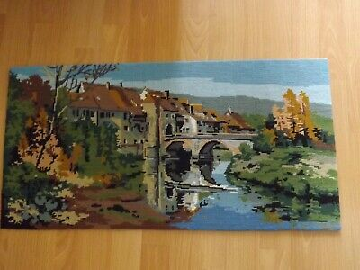 "Vintage 'Old Town' by the River in Autumn Completed Wool Tapestry 29"" x 15"""