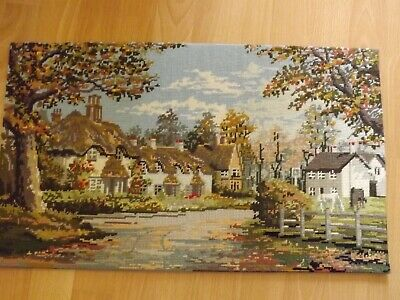 """Vintage Lyndhurst Swan Green New Forest Completed Wool Tapestry 1986 23.5"""" x 14"""""""