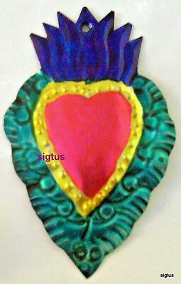 Mexican Hand Painted & Punched Tin Multi-Colored Heart Ornament! Pink Center