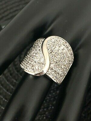 be5963818 Designer chunky cocktail made with White Swarovski Pave Crystal Wave Ring  new