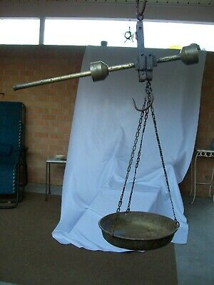 Antique Iron & Brass Hanging Balance Scale w/ Brass Pan 10kg 22lbs. Indonesia