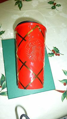 STARBUCKS Quilted Red Gold Ceramic Siren Logo Double Wall Mug 10 fl oz