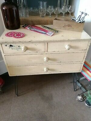 vintage retro industrial two over two painted chest of drawers on hairpin legs