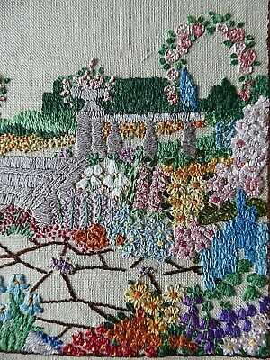 Vintage Hand Embroidered Picture- Stunning Flower Gardens-Beautiful Work