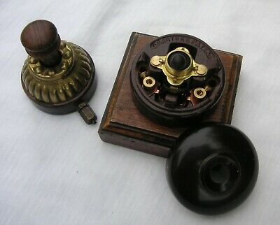 Vintage Brass Gas Light Extinguisher (Patented) & Bacolite Wall Switch Unit