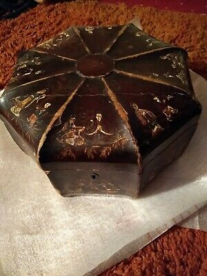 Antique / Vintage Large Chinese Octagonal Laquered Box , Some Damage