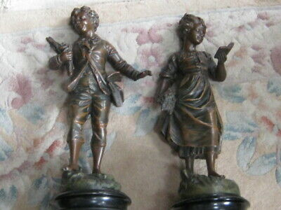 A Good Sized Pair Of French Antique Spelter Figures Of A Boy & Girl