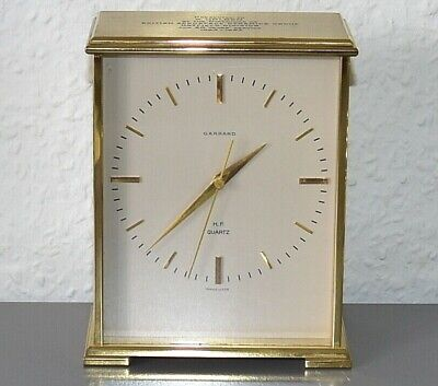 GARRARD Vintage desk clock. Swiss Made. Brass. Running.