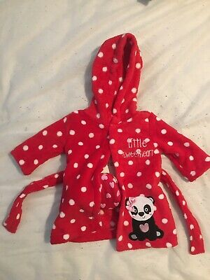 Baby Girl Dressing Gown And Slippers 0-3mths