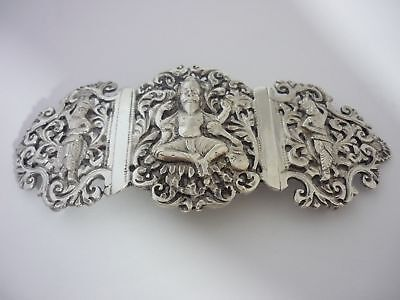 Superb Rare Very Large Vintage Heavyweight Solid Silver Nurses Buckle From India