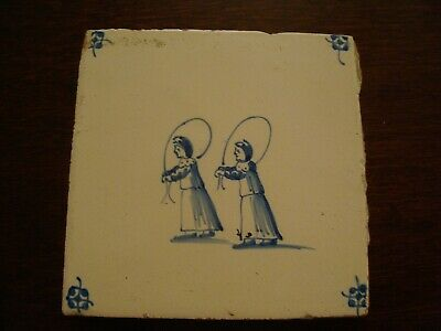 19th Century Delft Tile Two Girls Skipping   20/64