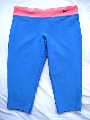 Nike Girls Teen 12-13 Years Dri Fit blue pink 3/4 Gym Running leggings Large L