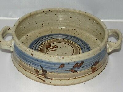 PADGETT POTTERY Studio Art Bowl with Handles Blue Brown Hand Thrown Painted