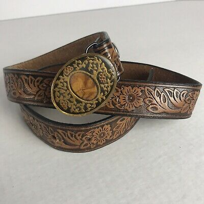 Vintage Harmony Metal Solid Brass Grapevine Buckle Floral Embossed Leather Belt
