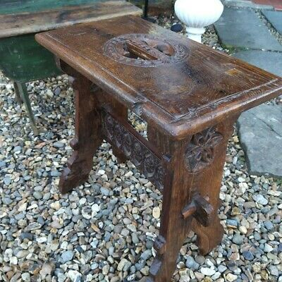 Gothic Revival Carved Oak Joint Stool Board Stool Victorian 16th century style