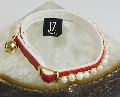 Freshwater Pearl Ancol Safety Cat/Kitten Red Collar Gold Beads & Gold Bell