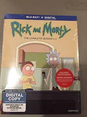 Rick and Morty: The Complete Seasons 1-3 (Blu-ray + Digital) BRAND NEW Slipcover