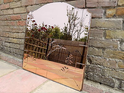 * ORIGINAL * 1930's - 1940's * ART DECO * ALL PEACH BEVELLED / ETCHED MIRROR *