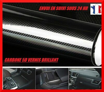 Film covering carbone 5D thermoformable noir glossy 152x30 cm vernis brillant
