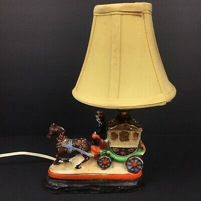 Antique Horse Drawn Carriage Lamp w/ Shade Made In Japan