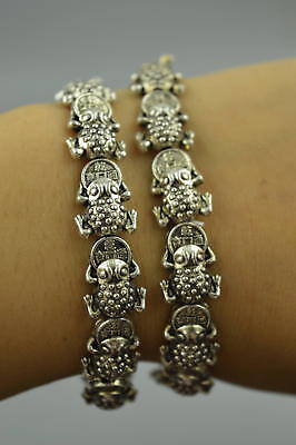 AAA Decorate Collect Tibet Silver Carve Wealth Spittor Pair Elastic Bracelet