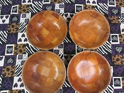 Set Of 4~Vintage~ Walnut Wooden Salad~Serving Bowls~10""