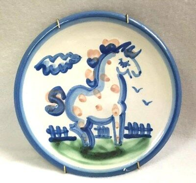 Vintage M A Hadley Pony Horse Small Plate Handmade Ready To Hang