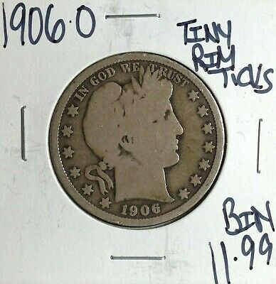 1906-O Barber Silver Half Dollar ~Tiny Rim Ticks