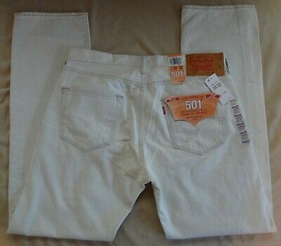 2cb24c415e6 NWT Levi's 501 34/32 Trashed White Button-Fly Original Fit Jeans 00501-
