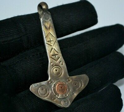 VERY RARE Viking Amulet Hammer of Thor Silver PENDANT With ORNAMENT GREAT SAVE