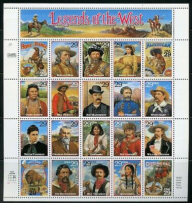 Us Scott# 2869 Legends Of The West Complete Sheet Of 20 Stamps Mnh As Shown