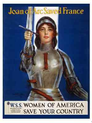 Americana Postcard:Vintage Repro - Joan Arc - Women of America Save Your Country