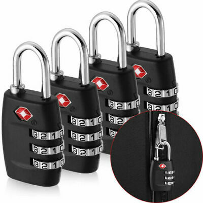 4 Pc TSA Approved Luggage Lock Travel 3 Digit Combination Suitcase Padlock Reset