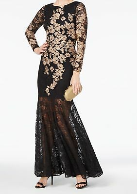 e8a91a300b NWT Xscape Black Lace Long Sleeve W Gold Embroidery Mermaid TulleGownSize 4   249