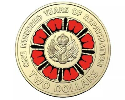 2019 Centenary Of WWI Repatriation $2 Colourized Coin In Lighthouse Capsule