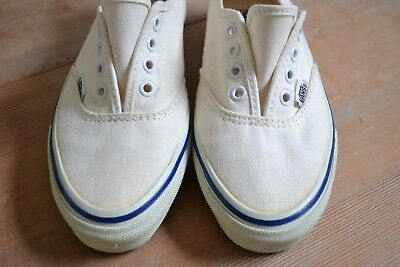 cad2a7722f Vintage Vans Canvas Boat Shoes Sneakers Natural White Women s 6.5 Made USA