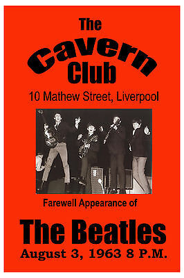 The Beatles * Farewell Appearance * The Cavern Club Poster 1963 13x19