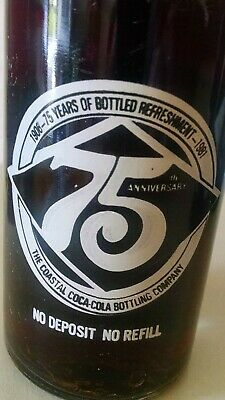 1981 The Coastal Coca-Cola Bottling Co 75th Anniversary 1906-1981 10 oz Bottle