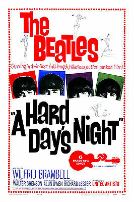 The Beatles * Hard Days Night * USA  Movie Promotional Poster 13x19